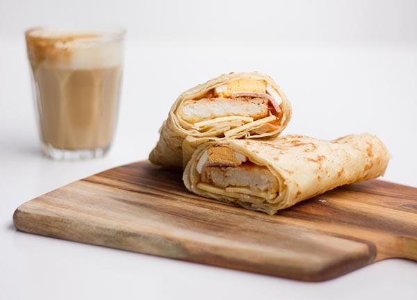 Roti wrap. Coffee. Breakfast sorted.